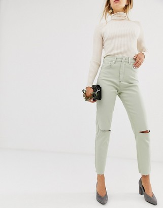 ASOS DESIGN Farleigh high waist slim mom jeans with rip and raw hem in Mint
