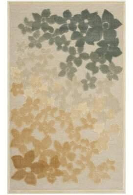 "Martha Stewart Flower Field Floral Beige/Gray Area Rug Rug Size: Rectangle 8' x 11'2"""
