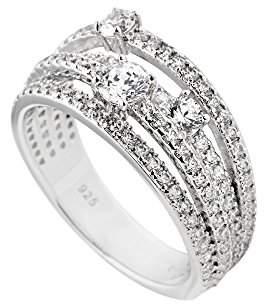Diamonfire Women's Ring 925 Sterling Silver Cocktail Zirconia White Size 60 (19.1) 1475/61 / 1/082 Women s 919