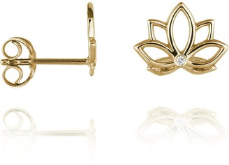 Perle de Lune Lotus Diamond Ear Studs Gold - 9k Gold