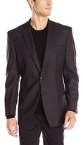 Calvin Klein Men's Dark Plaid 2 Button Slim Fit Sport Coat, Dark Grey, 46/Long