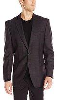 Calvin Klein Men's Dark-Plaid Two-Button Slim-Fit Sport Coat