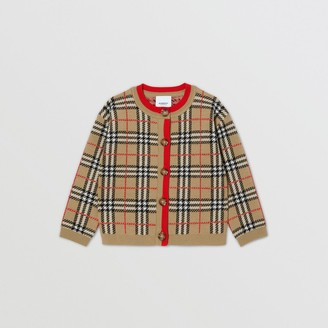 Burberry Childrens Check Merino Wool Jacquard Cardigan