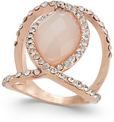 INC International Concepts Rose Gold-Tone Pavé and Pink Stone Ring, Only at Macy's