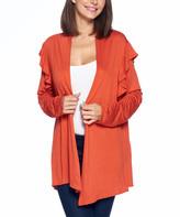 Isaac Liev Women's Open Cardigans Rust - Rust Ruffle-Shoulder Open Cardigan - Women & Plus