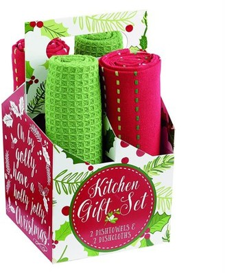 """Midwest Design Imports DII Boughs Of Holly Kit Gift Set, 18x28"""", 100% Cotton"""