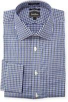 Neiman Marcus Trim-Fit Plaid Dress Shirt, Blue