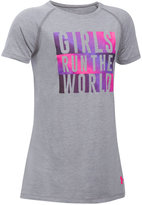 Under Armour Girls Run The World Graphic-Print Charged Cotton T-Shirt, Big Girls (7-16)