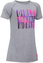 Under Armour Girls Run The World Graphic-Print Charged Cottonandreg; T-Shirt, Big Girls (7-16)