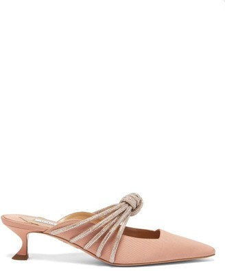 Aquazzura Celeste 45 Crystal-knot Faille Mules - Light Pink