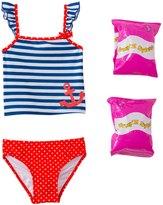 Jump N Splash Toddler Girl's Sweet Sailor TwoPiece Swimsuit w/ Free Floaties (2T-3T) - 8143017