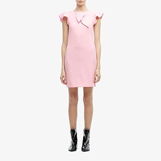 Boutique Moschino Ruffle Shoulder Shift Dress (Pink) Women's Clothing