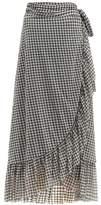 Ganni Ruffle-trim Gingham-print Mesh Wrap Skirt - Womens - Black White