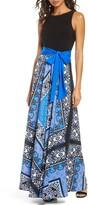 Eliza J Scarf Print Sleeveless Maxi Dress