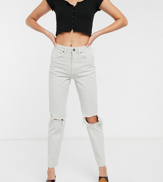 ASOS DESIGN Tall Mom jeans in concrete wash with rips