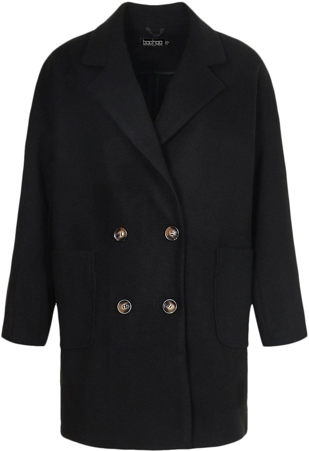Thumbnail for your product : boohoo Tall Wool Oversized Pocket Coat