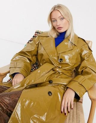 Asos DESIGN vinyl trench coat in khaki