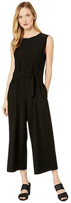 Eileen Fisher Lightweight Washable Stretch Crepe Jewel Neck Cap Sleeve Ankle Length Jumpsuit w/ Tie (Black) Women's Jumpsuit & Rompers One Piece
