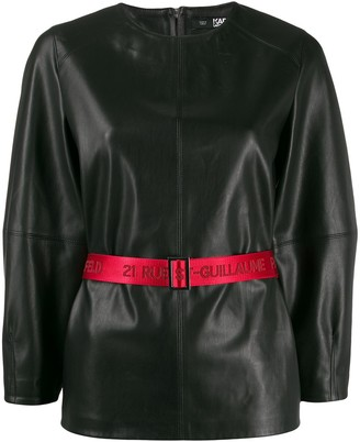 Karl Lagerfeld Paris Contrast Belted Top