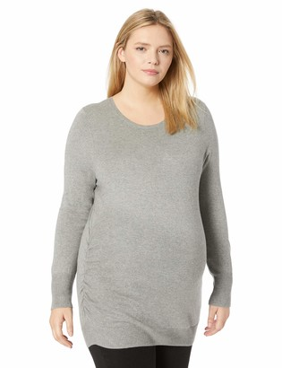 Motherhood Maternity Women's Maternity Plus-Size Long Sleeve Crew Neck Side Ruched Sweater