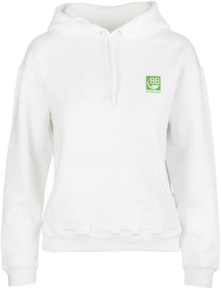 Balenciaga White Woman Hoodie With Green Logo