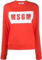 MSGM box logo-print cotton sweatshirt