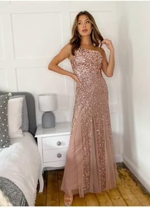 Sistaglam Rosemarie Rose Gold One Shoulder Sequin Dress