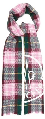 Moncler Logo-print Checked Wool-blend Scarf - Womens - Pink