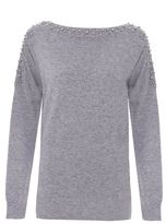 Quiz Grey Light Knit Batwing Pearl Diamante Sleeved Jumper