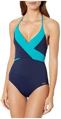 Vince Camuto Sunblock Color Block Wrap Surplice Tie One-Piece (Deep Sea) Women's Swimsuits One Piece