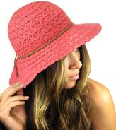 NYFASHION101 Open Knit Brown Braided Trim Vented Cotton Beach Sun Hat