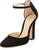 Gianvito Rossi Suede d'Orsay Ankle-Wrap Pump, Black