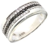 Paradise Jewelers Women's 0.48 CTW B&W Diamond 14K White Gold-Plated Sterling Band, Size 8