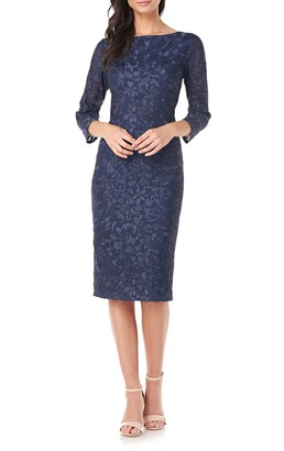 JS Collections Leaf Embroidered Sheath Cocktail Dress