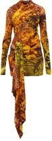 Halpern Animal-print Draped Stretch-jersey Mini Dress - Womens - Orange Multi