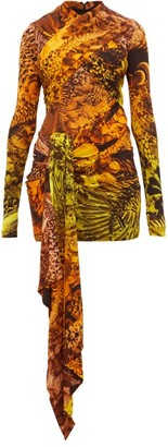 Halpern Animal Print Draped Stretch Jersey Mini Dress - Womens - Orange Multi