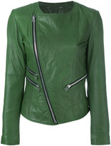 Twin-Set zip detail leather jacket