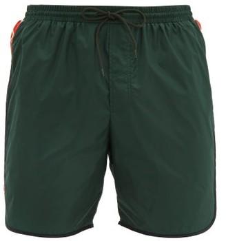 Gucci Tape-logo Swim Shorts - Mens - Dark Green