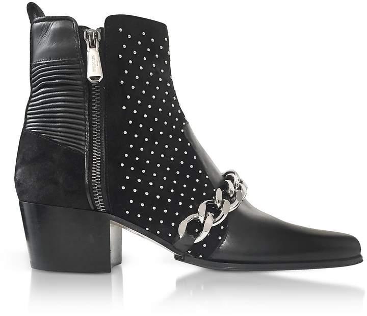 Balmain Black Leather Ella Studs Boots