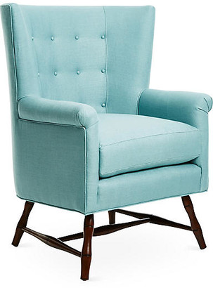 Bunny Williams Home Westcott Wingback Chair - Blue Linen