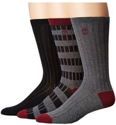 Timberland Stripe/Solid 3-Pack Rib Crew Socks