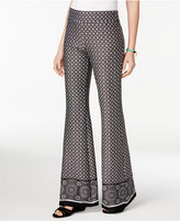 BCX Juniors' Border-Print Wide-Leg Soft Pants