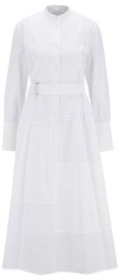 HUGO BOSS Shirt dress in cotton with patchworked monogram panels