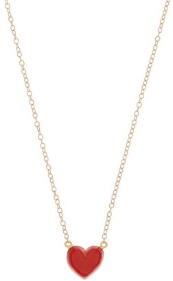 Alison Lou Heart Charm 14kt Gold Necklace - Womens - Red