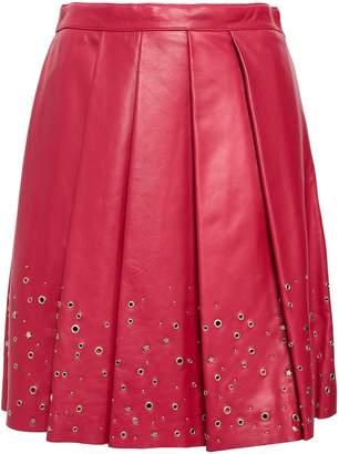 Moschino Embellished Pleated Leather Mini Skirt