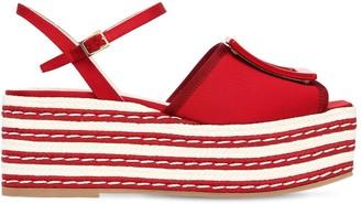 Roger Vivier 70mm Striped Viscose Platform Sandals