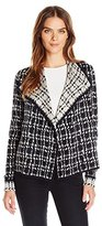 Jones New York Women's Painterly Houndstooth Drape Front Cardigan