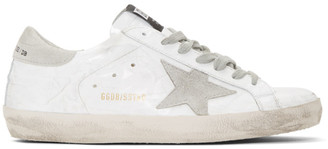 Golden Goose White and Grey Patent Superstar Sneakers