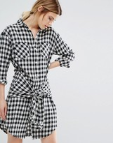 Current/Elliott Current Elliott Gingham Shirt Dress With Tie Waist