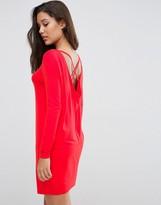 Asos Cowl Back Mini Dress With Strap Detail
